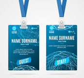 Id Card Template Plastic Badge. Vector. Id Card Template Plastic Badge with Blue Abstract Geometric Sphere. Vector illustration Stock Photography