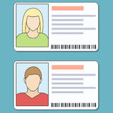 ID Cards Illustration. Male and female id card icons. Vector lineart colorful illustration Stock Photography