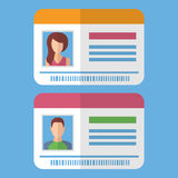 Id cards template with man and woman photo Royalty Free Stock Images