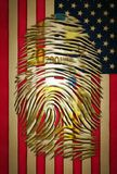 ID. 200 euro fingerprint on USA flag Stock Photography