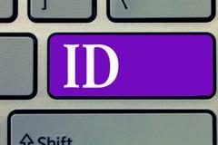 ID för ordhandstiltext Affärsidéen för de a-kortet eller dokumentet tjänar som att identifiera ett visande provexemplar av identi royaltyfri foto