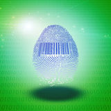 Id. Fingerprint with bar code and binary Stock Photo