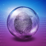Id. Fingerprint contained in glass sphere with Id Number Royalty Free Stock Images