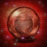 ID and fingerprint. Surrealism. Finger print in crystal ball, binary code on background Royalty Free Stock Photography