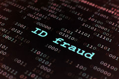 Id fraud. CLose up of Id fraud on binary data Royalty Free Stock Image