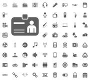 ID icon. Media, Music and Communication vector illustration icon set. Set of universal icons. Set of 64 icons.  Stock Images
