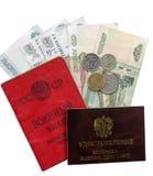 军事ID卡片、经验丰富的ID卡片和退休薪水隔绝在白色背景 库存照片
