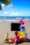 ID-Märke på den sandiga stranden Arkivfoto