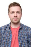 ID picture of a guy in a checked shirt and pink t-shirt royalty free stock photos