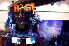 ID' Rage booth and logo at E3 2011. LOS ANGELES - JUNE 7: iD software Rage booth, one of the most 2011 anticipated games, at last E3 2011, the most important Royalty Free Stock Photo