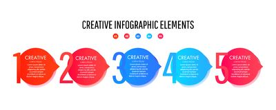 Id?rik infographic mall med f?rgrika runda best?ndsdelar, pekare och textf?lt vektor illustrationer
