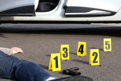 ID tents at crime scene. After gunfight Royalty Free Stock Photography