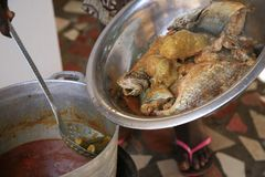 Ida'Home Cooking class, Brufut, Gambia. Fresh food bought on local market than cooked home with Ida as chief. Nearby capital of Gambia, Atlantic coast Stock Photos