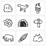 Idade da Pedra e alvorecer dos ícones dos dinossauros Ilustração do vetor Fotografia de Stock Royalty Free