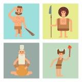 A Idade da Pedra primitiva do homem das cavernas carda a ilustração do vetor da evolução do caráter dos povos do neanderthal dos  Imagens de Stock Royalty Free