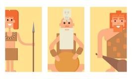 A Idade da Pedra primitiva do homem das cavernas carda a ilustração do vetor da evolução do caráter dos povos do neanderthal dos  Imagens de Stock