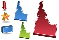 Idaho 3D. Set of 3D images of the State of Idaho with icons Stock Photos