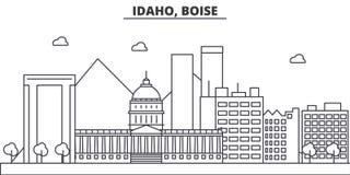 Idaho, Boise architecture line skyline illustration. Linear vector cityscape with famous landmarks, city sights, design. Icons. Editable strokes royalty free illustration