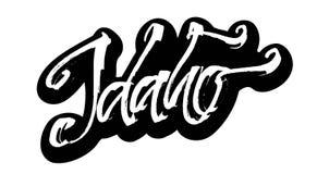 idaho etikett Modern kalligrafihandbokstäver för serigrafitryck Royaltyfri Fotografi