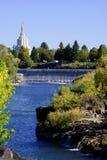 Idaho Falls church and river Royalty Free Stock Photos