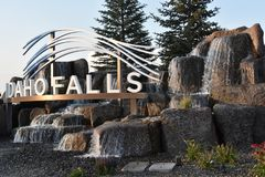The Idaho Falls city sign. In Idaho stock photography