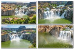 Idaho Falls Collage. Scenic aerial view collage of Shoshone Falls or Niagara of the West reflected in the water, Snake River, Idaho, United States on white Stock Photography