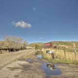 Idaho farm with rusted barn and mail boxes Stock Photos