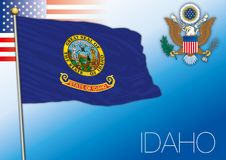 Idaho federal state flag, United States. Vector illustration and us coat of arms Stock Photography