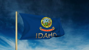 Idaho flag slider style with title. Waving in the stock footage