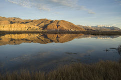 Still Idaho Lake Mountain Reflection Blue Sky  Royalty Free Stock Photos