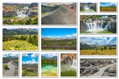 Idaho landscape collage. Collage on white background of several landmark locations: Craters of the Moon, Idaho Falls, Sawtooth National Forest in Idaho, United stock images