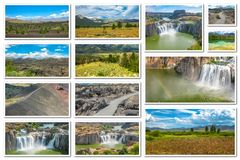 Idaho landscape collage. Collage of several landmark locations: Craters of the Moon, Idaho Falls, Sawtooth National Forest in Idaho, United States, on white stock photos