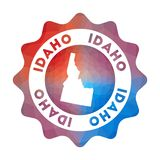 Idaho low poly logo. Colorful gradient travel logo of the us state in geometric style. Multicolored polygonal Idaho rounded sign with map for your infographics royalty free illustration