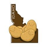 Idaho map illustration. Idaho outline map and potatoes illustration Royalty Free Stock Photography