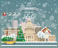 Idaho, merry Christmas and a happy New Year!. Christmas greeting card in modern flat style royalty free illustration