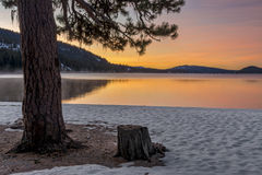 Idaho mountain lake in the winter with snow Stock Photo