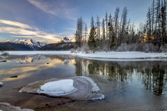 Idaho mountain lake in the winter with snow Stock Image