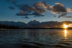 Idaho Mountain Lake winter sunset Stock Image