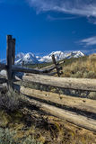 Idaho mountain range and old wooden fence Royalty Free Stock Images