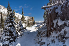 Idaho mountain trail covered with snow Stock Photo