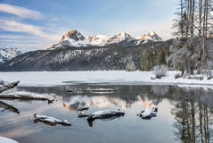 Idaho mountian lake in the winter with snow Royalty Free Stock Images