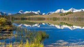 Idaho moutnains and lake reflection fall Stock Images