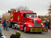 The idaho Potato truck is going through a parade route Stock Photography