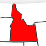 Idaho Red Abstract 3D State Map United States America. A red abstract state map of Idaho, a 3D render symbolizing targeting the state to find its outlines and Stock Photos