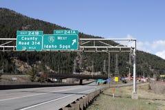 Idaho salta sinais da saída de Colorado Foto de Stock Royalty Free