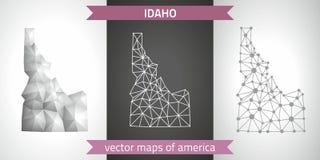Idaho-Satz Grau und polygonale Karten des Silbermosaiks 3d Grafische Vektordreieckgeometrieentwurfs-Schattenperspektive zeichnet  Stockfotografie