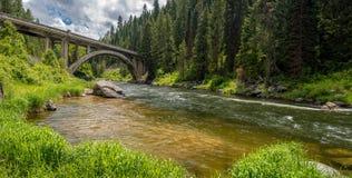 Idaho skog och flod med en unik bro Royaltyfri Fotografi