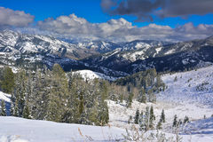 Idaho Snow Covered Mountains. Snowy peaks in mountains of Idaho Royalty Free Stock Images