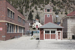 Idaho Springs Fire Department Station 1. Idaho Springs, CO, USA - April 19, 2014: Historical architecture rises up with a bell on top of this old and small royalty free stock images