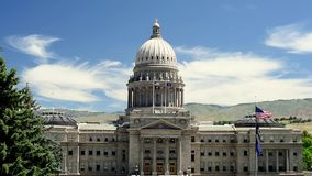 Idaho state capital building and Americal flags stock video